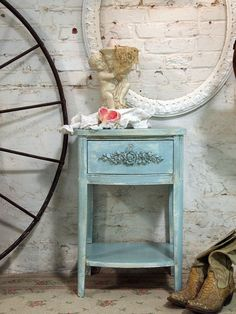 Painted Cottage Chic Shabby Aqua Night Table by paintedcottages, $110.00