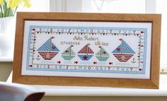 Sail Away Birth Sampler   Size: 48cm x 18cm  16 count aida - £29.50 32 count linen - £29.50 Chart Pack - £9.00  10% off our entire range