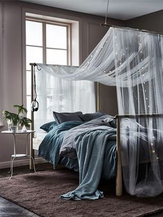 A short way to a cozy bedroom: GJÖRA bed frame, IKEA textile, LED light chains and some inspiration. Cozy Bedroom, Bedroom Sets, Home Decor Bedroom, Modern Bedroom, Girls Bedroom, Master Bedroom, Bedrooms, Bedroom Colors, Grey Bedroom Walls