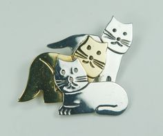 Vintage Sterling Cat Pin Three Cats Sterling by BelmarJewelers