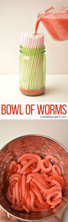 If you're trying to freak someone out with crazy Halloween food or maybe even April Fool's, I can tell you confidently that you HAVE to try this recipe for Jello worms! These Jello worms are amazingly disgusting! So perfect for your next Halloween party! Plat Halloween, Halloween Goodies, Halloween Food For Party, Halloween Birthday, Happy Halloween, Spooky Halloween, Holloween Party Ideas, Halloween Activities For Toddlers, Halloween Crafts For Kids To Make
