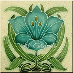 Amazon.com: Art Nouveau Ceramic Tile 6 Inches Reproducction #261: Kitchen & Dining