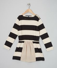 Take a look at this Black & White Stripe Button Dress by Millions of Colors
