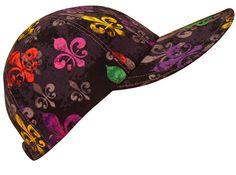 """deLis Delight"" - Bright multi-color Fleur de Lis Print on Black Ladies Baseball Cap Hat. Handmade by Calico Caps USA $40"