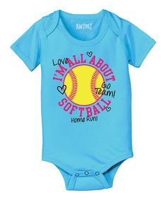 Look at this Turquoise 'I'm All About Softball' Bodysuit - Infant on #zulily today!