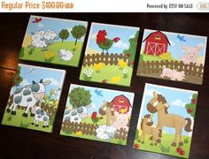 Gracias venta conjunto de animales de granja 6 8 x 10 estira lienzos niños dormitorio bebé vivero lienzo pared arte Scs003