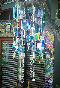 Mosaic Garden Mirror Art - hub cap, green & blue stained & glass mirror