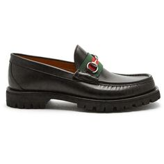 Gucci Web-trim leather loafers (€500) ❤ liked on Polyvore featuring men's fashion, men's shoes, men's loafers, black multi, shoes, mens red shoes, mens black shoes, mens loafer shoes, mens black leather shoes and mens rubber sole shoes