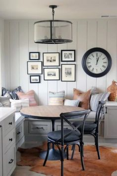 Home Office , Top 50 Best Breakfast Nook Ideas - Kitchen Gathering Spots Dining Nook, Dining Room Design, Kitchen Design, Fireplace In Dining Room, Couch Dining Table, Kitchen Breakfast Nooks, Kitchen Nook, Kitchen Banquette Ideas, Small Breakfast Nooks