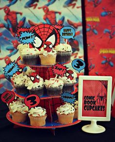 spiderman party:  comic book cupcakes for a spiderman party     Bridgey Widgey