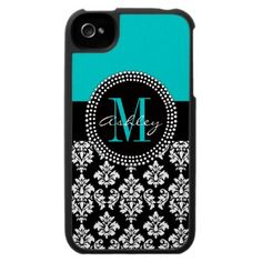 Black Damask iPhone 4 Case Monogram Aqua by DamaskGallery