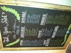 Chalkboard seating chart, #chalkboard, #seatingchart, #wedding, #ideas, #reception