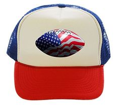 American Football USA Trucker Hat Cap red white blue