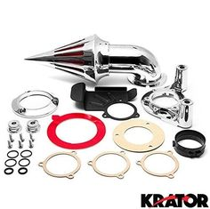 Krator® Chrome Spike Air Cleaner Intake Filter For 2008-2009 Harley Davidson Dyna Touring Models, Silver