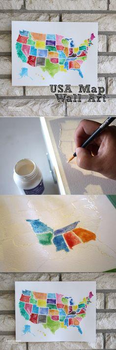 USA Watercolor Wall Art using Frisket!
