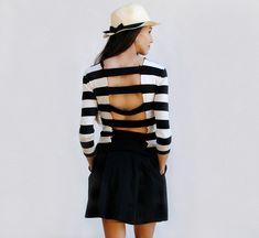 Refashion: Cutout Striped Shirt