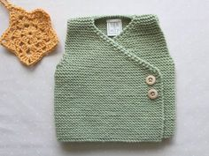 Knit baby vest for boys in light green, 100% soft merino wool by