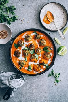 Lentil Meatballs in Spiced Pumpkin Tomato Sauce . vegan lentil meatballs with spiced tomato pumpkin sauce and coconut milk . vegan lentil meatballs with spiced tomato pumpkin sauce and coconut milk . Pumpkin Sauce, Spiced Pumpkin, Vegan Pumpkin, Lentil Meatballs, Meatball Sauce, Vegan Meatballs, Whole Food Recipes, Cooking Recipes, Healthy Vegetarian Recipes