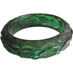 Deeply Carved Transparent Bakelite Bangle Bracelet from the As Is Collection