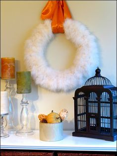 feather boa wreath. e, i think this would be mom's FAVORITE craft for us to do. ;)