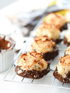 Chocolate Dipped Coconut Macaroons | foodiecrush.com
