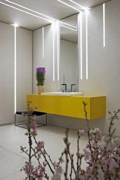 Свет в ванной комнате,правильный выбор и размещение с фото Home Interior, Bathroom Interior, Interior Architecture, Interior Decorating, Interior Design, Modern Lighting Design, Linear Lighting, Strip Lighting, Industrial Lighting