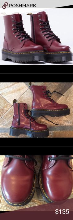•nwob• jadon platform cherry red boots These are AWESOME! Shiny cherry red platform boots. Definitely sh*t kickers! Never worn but from storage have one crease in one heel and a teeny white mark on the toe. These are super cool! I put these at 6.5 only because they are 37's but says US 6. Dr. Martens Shoes Combat & Moto Boots