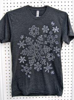 Screen printed snowflake tshirt for men gray. by KRUSTYstuff, $23.00