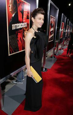 "Jessica Biel wore Gucci Spring Summer 2013 look 41 black silk halter neck gown with ruffle detail to the ""Hitchcock"" premiere on November 20, 2012 in Beverly Hills, California."