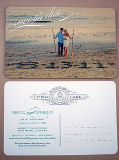 Beach theme wedding save the date card