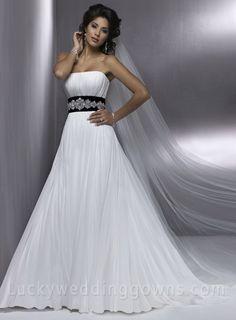 A-line Strapless Sleeveless Chapel Train Satin Wedding Dress