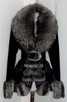 Blugirl Blue Marine Chinchilla Coat with Silver Fox Trim by Anna Molinari Italy   SELLER  OM3707