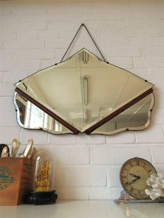 Vintage Art Deco Bevelled Edge Wall Mirror with Wooden Detail Great Shape