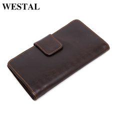 WESTAL Genuine Leather Men Wallets Fashion Clutch Bags Man Billfold Card Holders Business Bag Male Multifunctional Purse 3314
