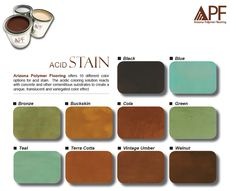 Acid stain color chart offered by Ariizona Polymer Flooring featuring their line of concrete stains.