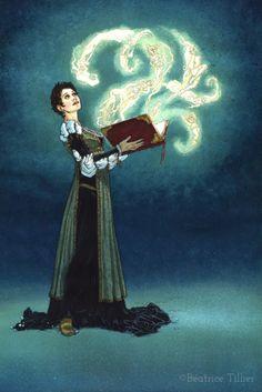 """Aube et le livre magique • Aube with the magic book Affiche tirée du """"Bois des Vierges"""" • From the """"Virgins' Wood """""""