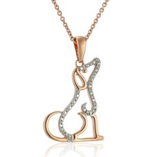 14k Rose Gold-Plated Sterling Silver and Diamond Dog Pendant Necklace