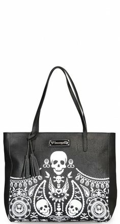 Tote your essentials in the rad Skull Bandana Embossed Tote! This rockabilly-inspired bag features our favourite skull bandana print in white on the front of the bag. #blamebetty #skulls #rockabilly