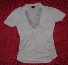 Torrid 3X Gray Ruffle Neck Knit Shirt Blouse Ruched Sides Low V Neck