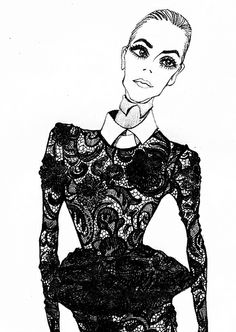 Modeconnect.com - Fashion illustration of model in a chic lace peplum dress; fashion drawing // Jiiakuann