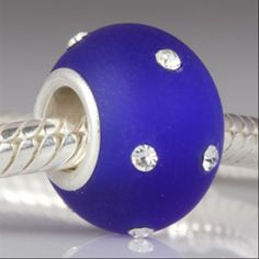 Kera Style Sapphire Color Murano Frosted Glass Bead with Clear Crystal September Birthstone 925 Sterling Silver Core Bead