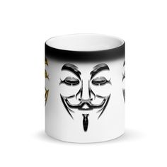 Matte Black Magic Mug Vendetta Mask Guy Fawkes Drawing Party Hacker Drink Water Mask Guy, Vendetta Mask, Guy Fawkes Mask, Computer Hacker, Superman And Spiderman, White Coffee Cups, Face Mug, Milk Tea, Tea Mugs
