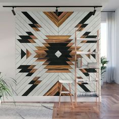 Urban Tribal Pattern - Aztec - Wood // Wall Mural by Zoltan Ratko // This pattern design is also available as a wall art, apparel, tech and home Indian Living Rooms, Wall Decor, Room Decor, Wood Wall Art, Home Projects, Wall Murals, Decoration, Diy Home Decor, Tribal Home Decor