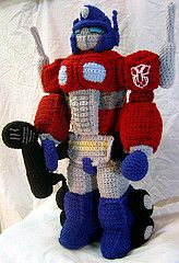 Aaw a little guy would flip over this crochet huggable Optimus Prime. It's so funny....  also pretty amazing how someone can sew together sooo many of those little pieces! Augh...I can never...