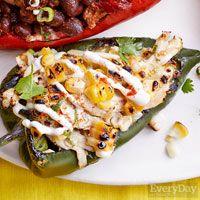 Rachael Ray-Cheesy chicken and corn stuffed chiles