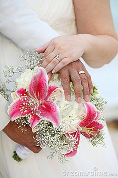 Pink and white flower bouquet. Tropical setting.
