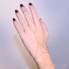Multi Bracelet Bangle Slave Chain Link Interweave Finger   Hand Harness Gold bracelets & bangles 0AB3