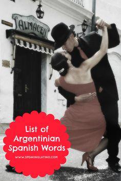 List of Argentinian Spanish Words #Argentina #Spanish #LearnSpanish