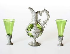 Antique pewter and colored glass in the Baroque style