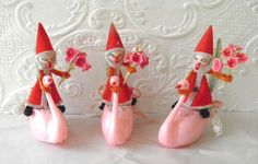 Vintage spun cotton santa ornaments_Dollie's Daughter